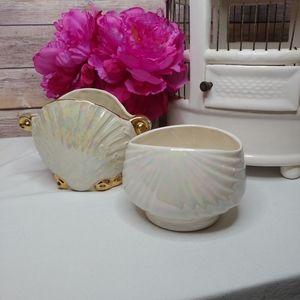 Vintage lusterware seashell vases jars containers